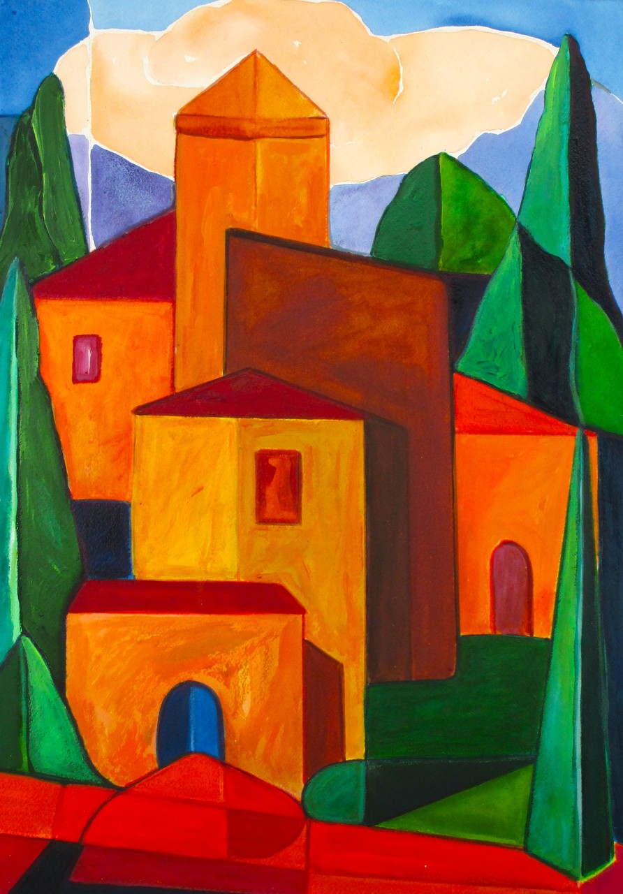 Hillside Village, acrylic on paper, 13.5 x 19, 2014 SOLD