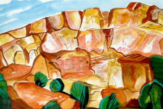 Petroglyph Ridge, watercolor, 18.5 x 15.5, 2013 SOLD