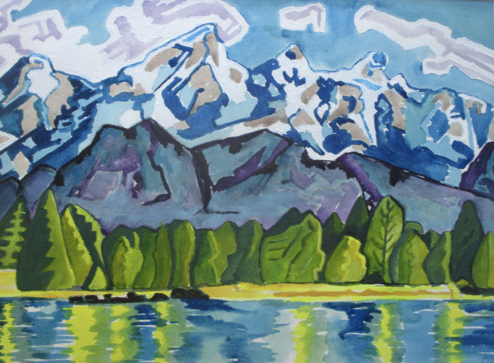 Mountain Lake, watercolor, 24 x 18 matted.