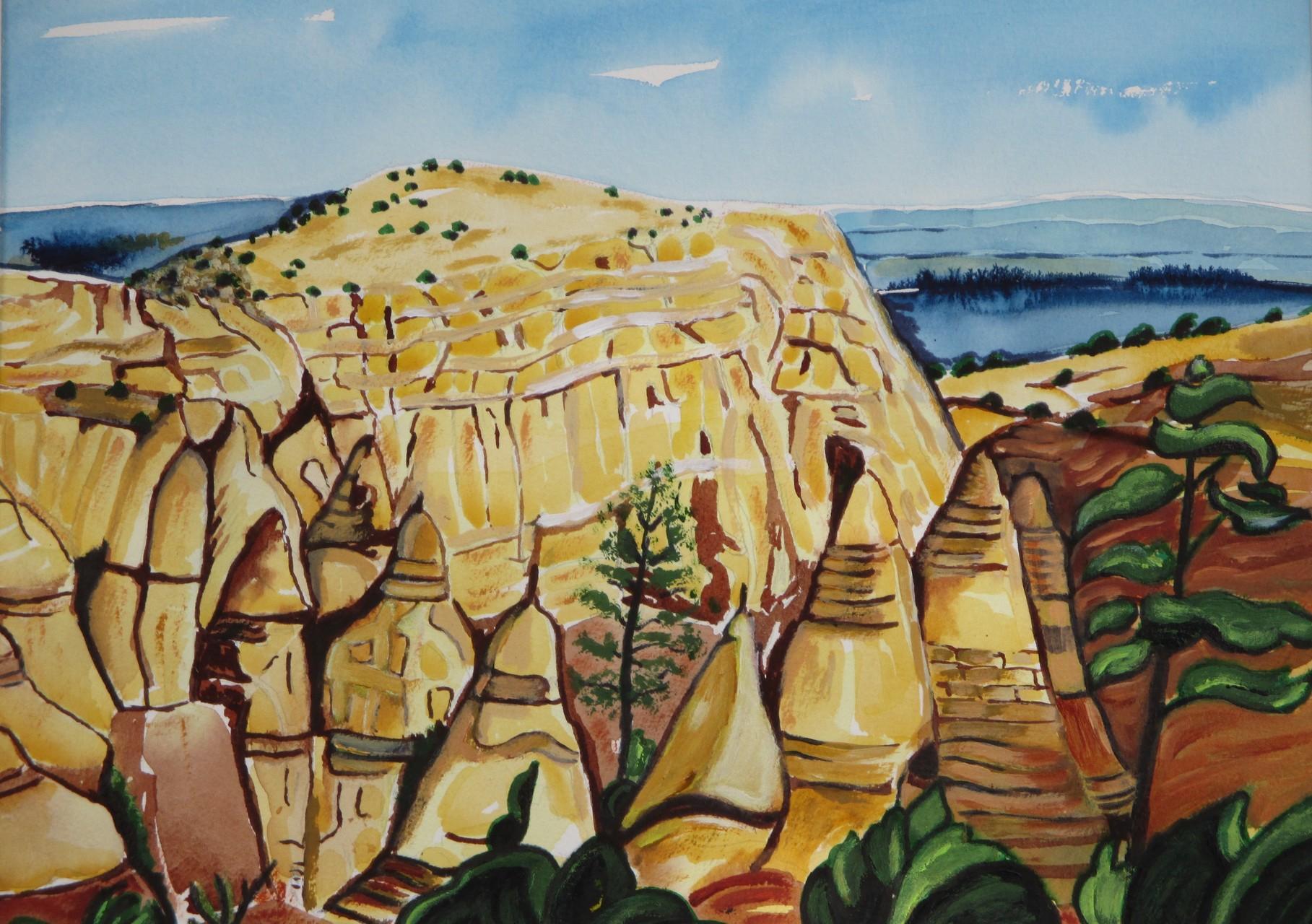 Tent Rocks, watercolor, 15.5 x 11.5, SOLD