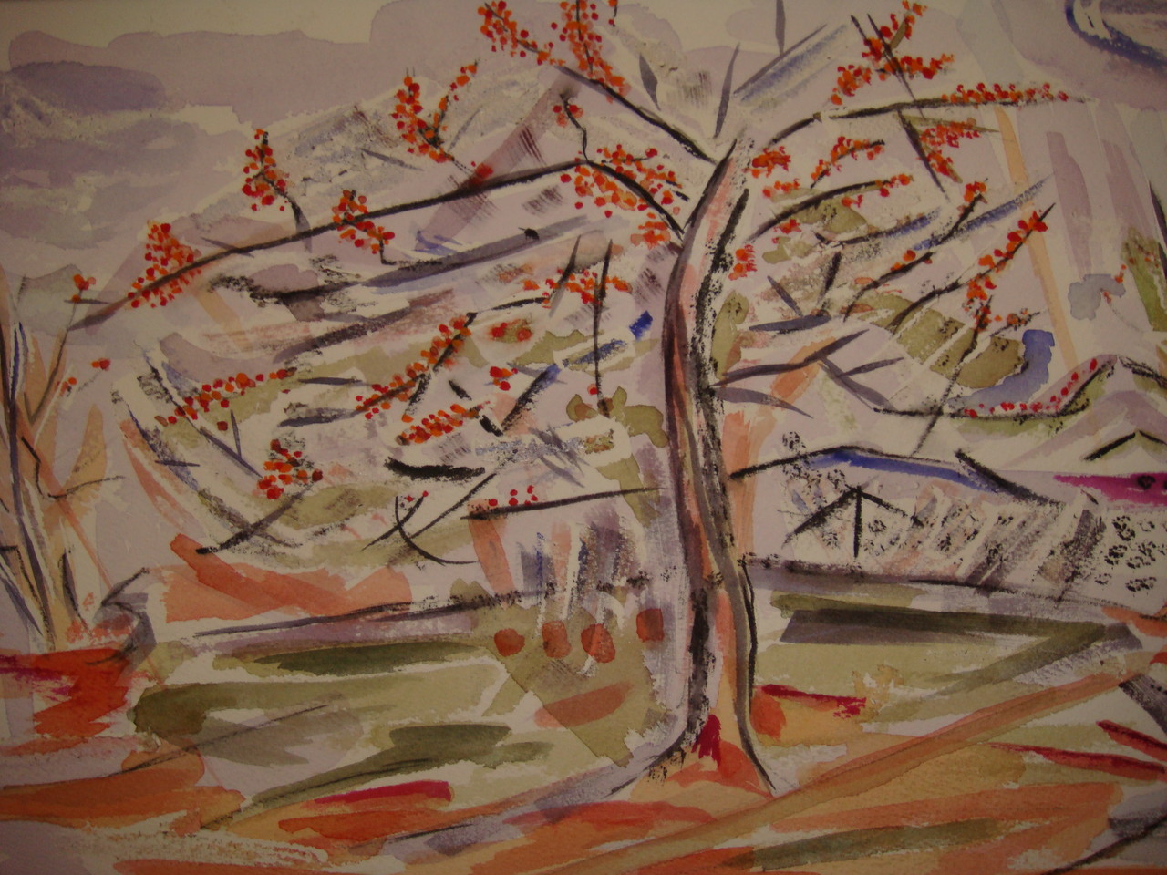Spring Blossoms, watercolor, 10.5 x 13.5, 2008