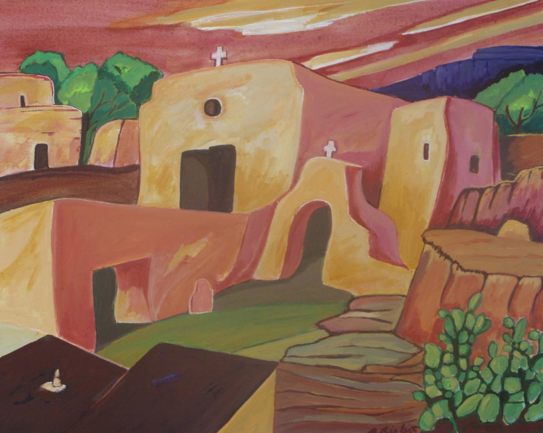 Pueblo Village, acrylic on canvas, 20 x 16 SOLD