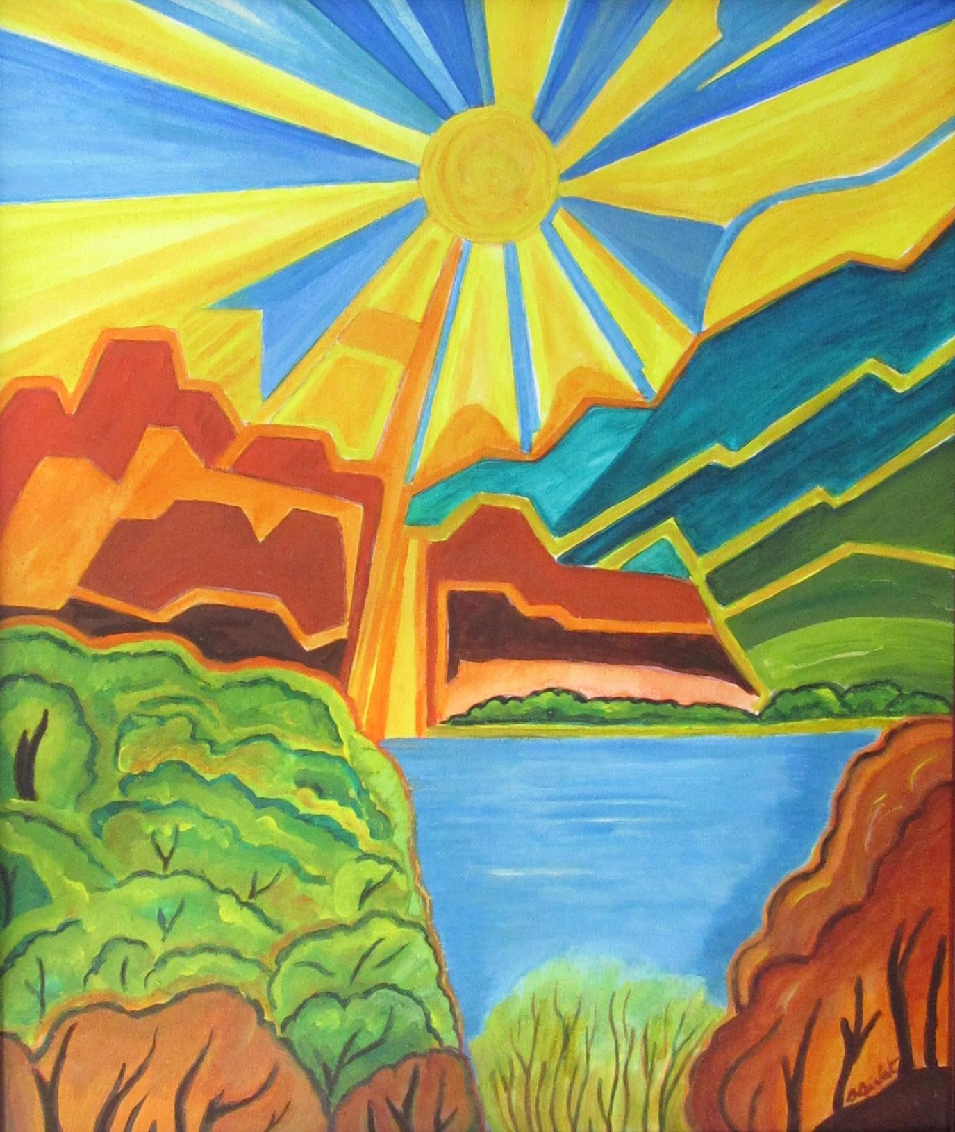 Sunflower Sky, acrylic on canvas, 20 x 14, 2018