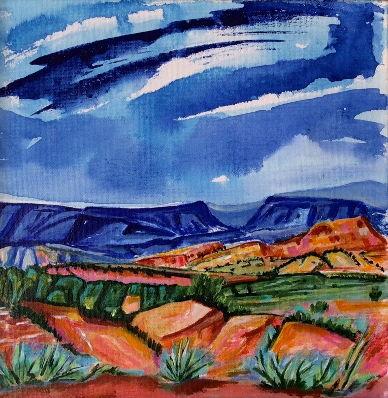 Storm Over Blue Mesa, watercolor, 12 x 12, 2014 SOLD