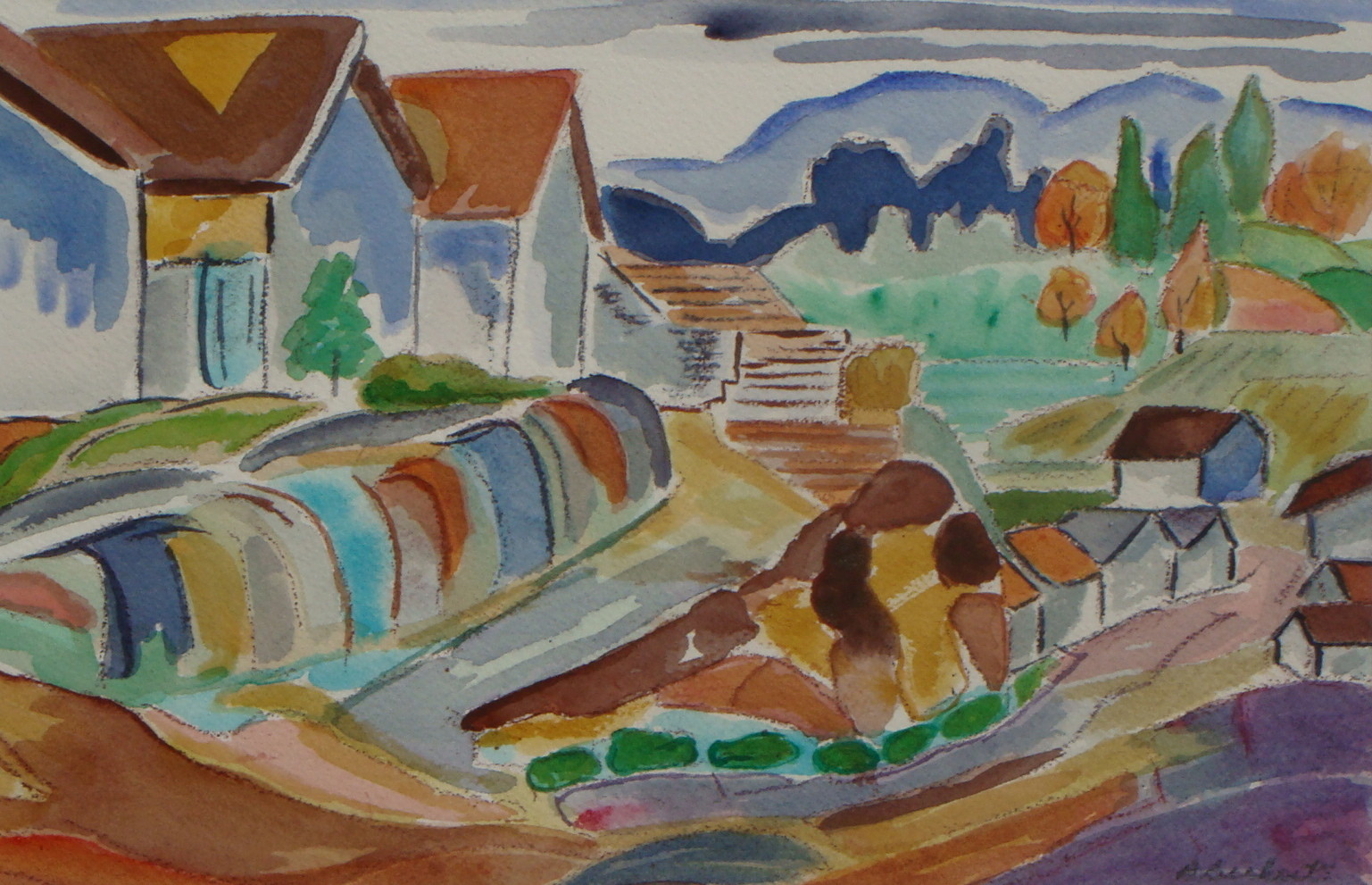 Along the Village Road, watercolor, 11.5 x 7.5, 2013