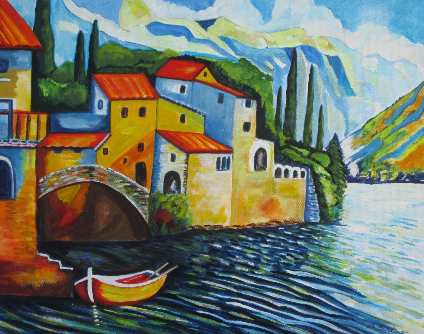 Lake Como, acrylic on canvas, 20 x 16, SOLD