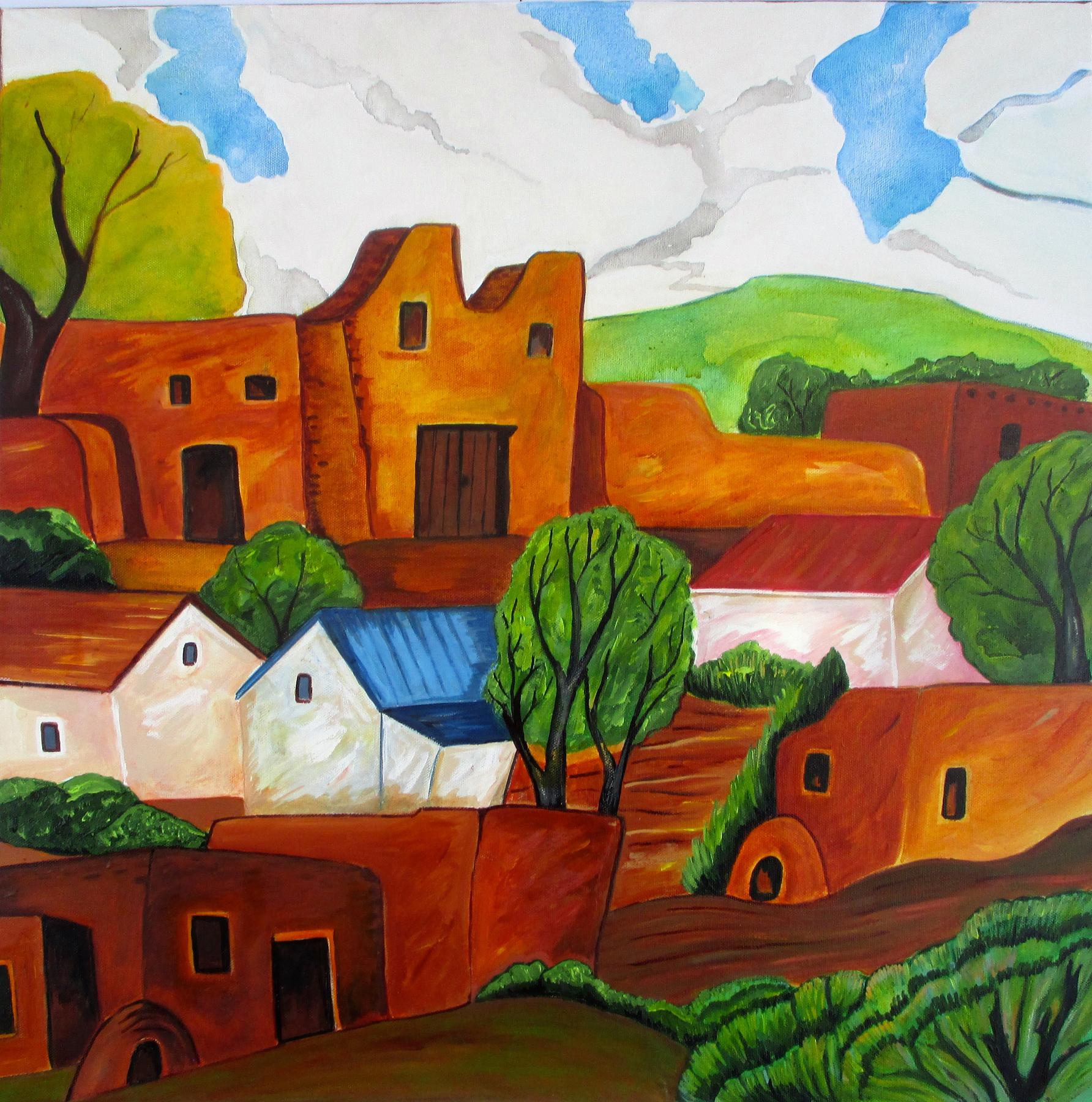 Pueblo Village, acrylic on canvas, 24 x 24 SOLD