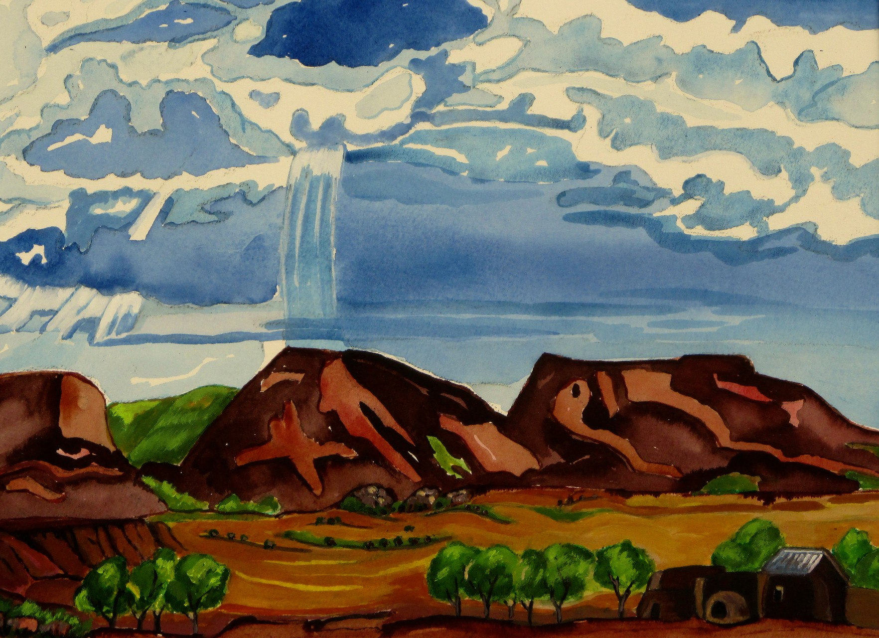 July Monsoons, watercolor, 15.5 x 11.5, 2015, SOLD