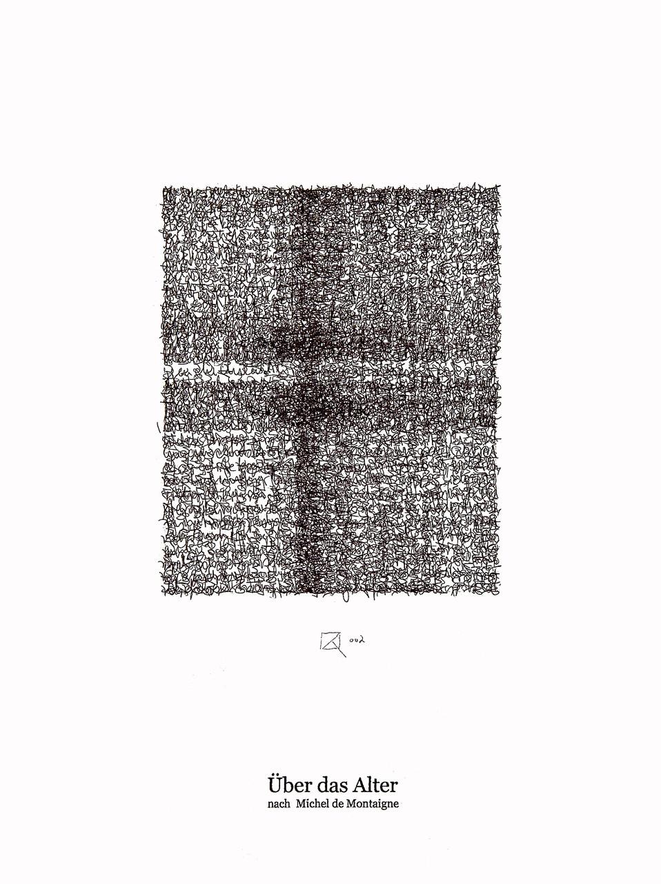 Über das Alter / About the age; Tusche auf Bütten, Handschrift / Handwriting,  (Ink on paper); 30 x 40 cm; 2002