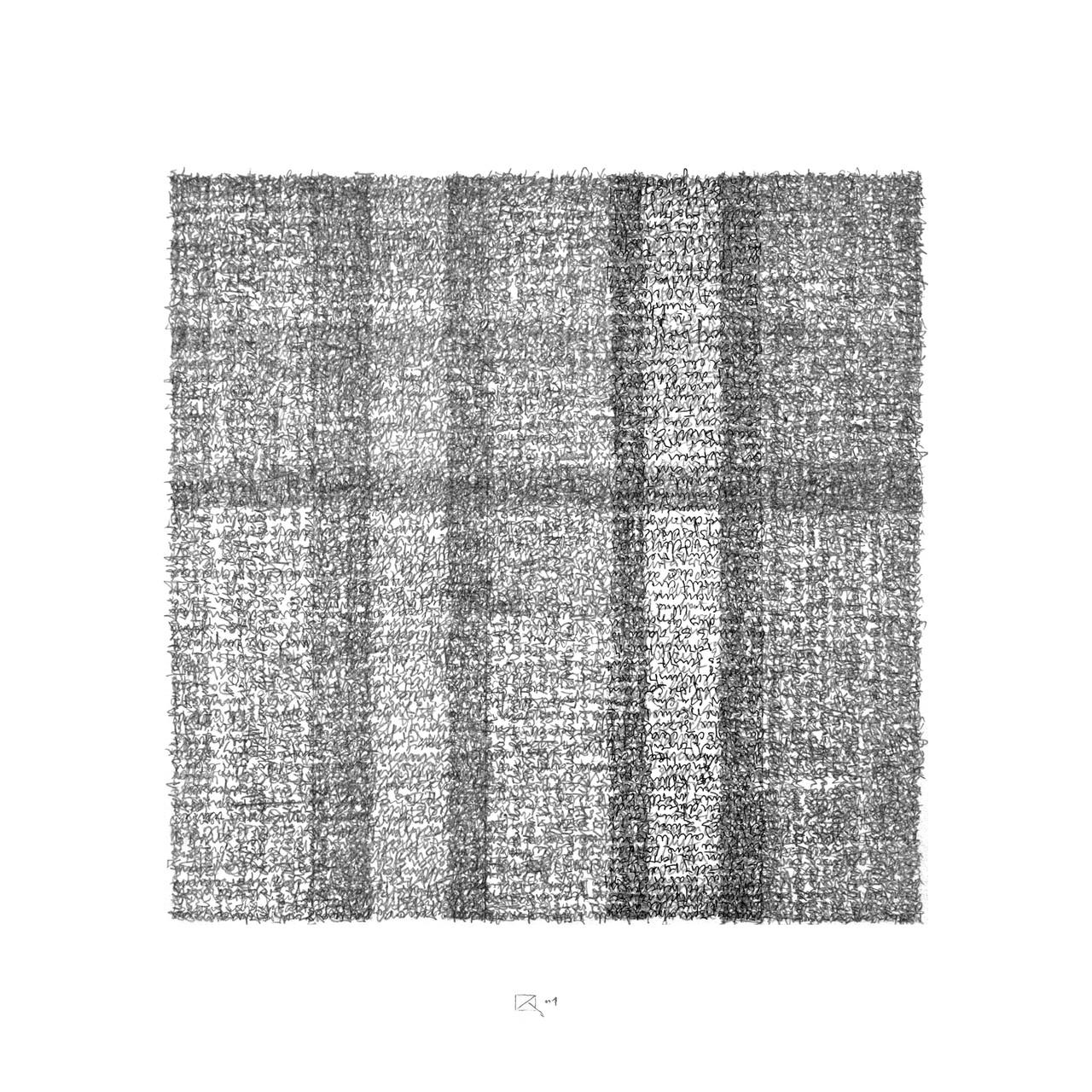 9/11 (Jean Baudrillard);  Tusche und Bleistift auf Bütten; Handschrift / Handwriting,  50 x 50 cm; 2002