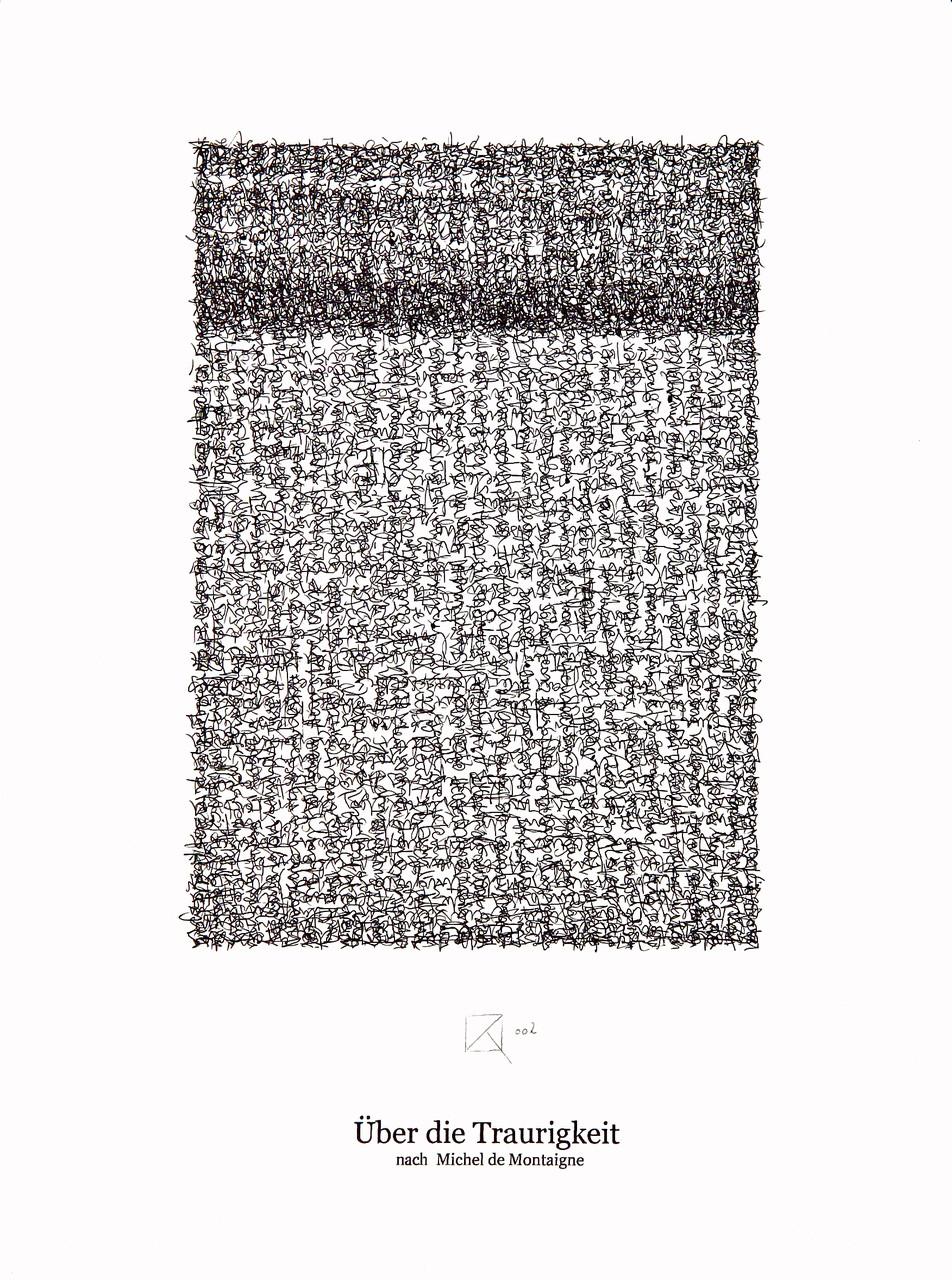 Über die Traurigkeit / About sadness; Tusche auf Bütten, Handschrift / Handwriting,  (Ink on paper); 30 x 40 cm; 2002