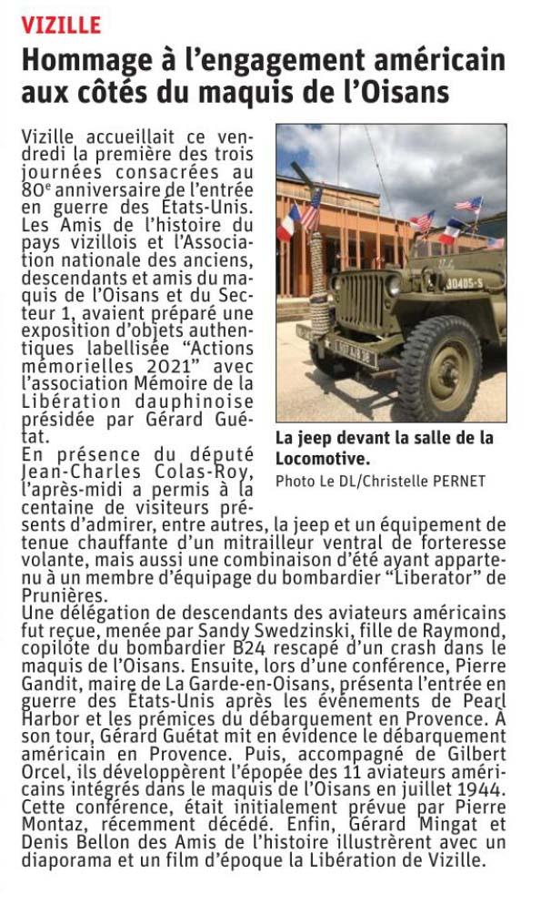 Dauphiné Libéré, Romanche Oisans, Vizille, édition du 01 septembre 2021