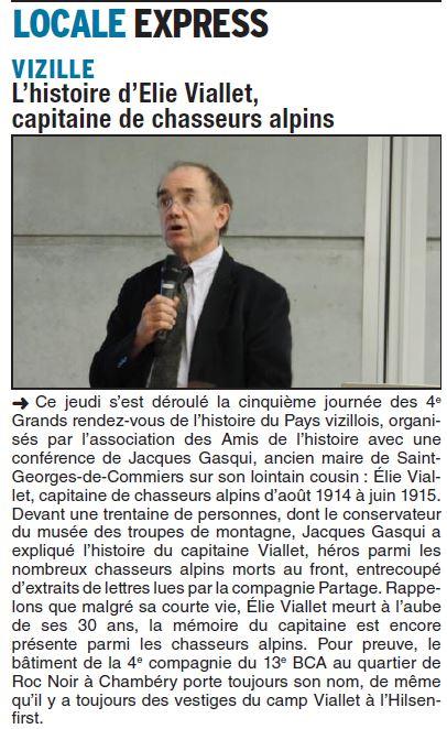 Dauphiné Libéré, Isère Sud, Vizille édition du 30 mai 2016.