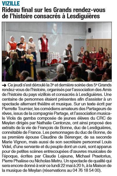Dauphiné Libéré, Romanche & Oisans, Vizille édition du 21 mai 2017.