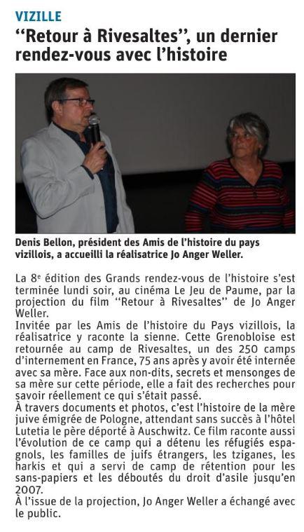 Dauphiné Libéré, Romanche & Oisans, Vizille, édition du 30 mai 2019.