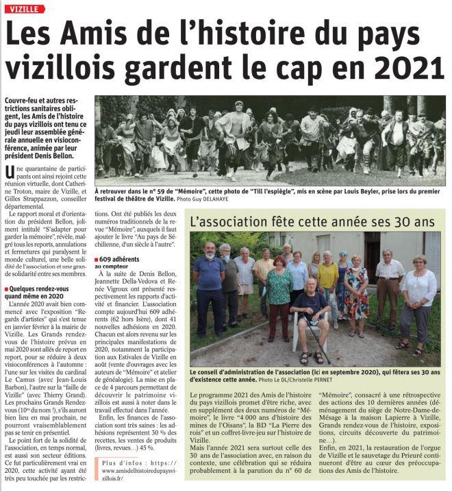 Dauphiné Libéré, Romanche Oisans, Vizille, édition du février 2021
