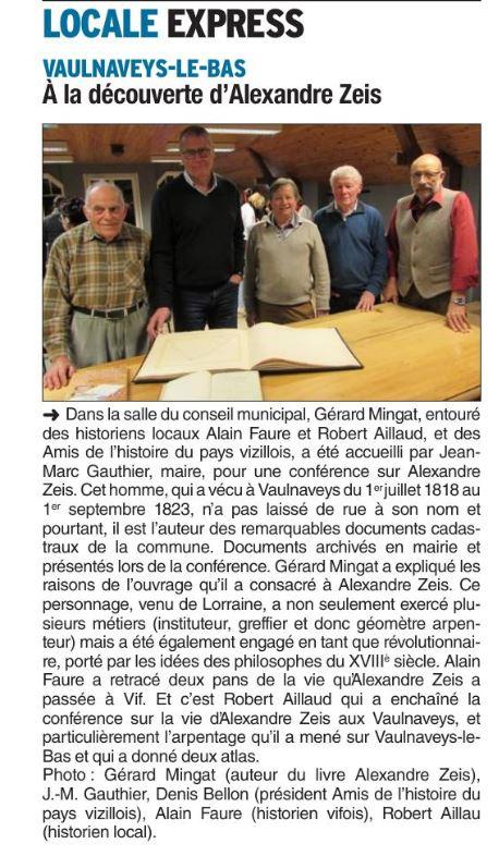 Dauphiné Libéré, Romanche & Oisans, Vaulnaveys-le-Bas, édition du 25 décembre 2018.
