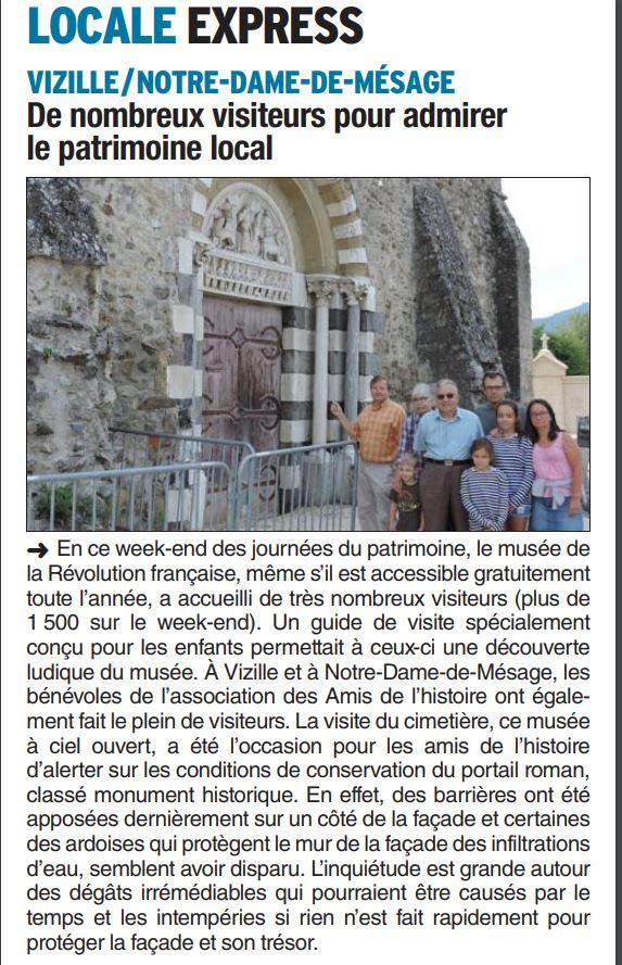 Dauphiné Libéré, Romanche & Oisans, Vizille édition du 19 septembre 2018.