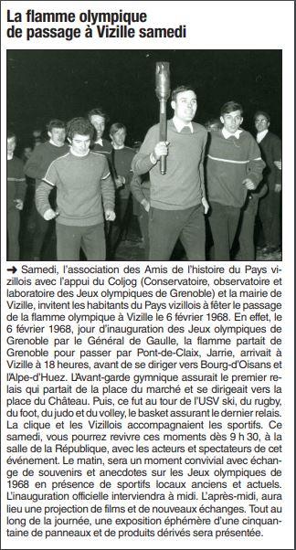 Dauphiné Libéré, Romanche & Oisans, Vizille édition du 05 avril  2018.
