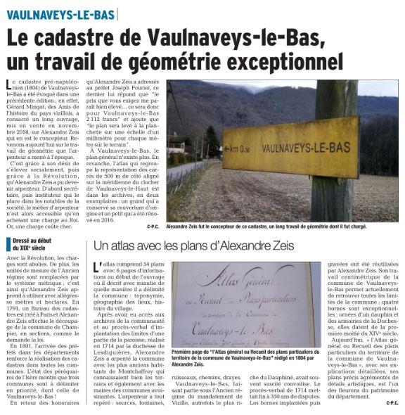 Dauphiné Libéré, Romanche & Oisans, Vaulnaveys le Bas, édition du 24 janvier 2019. Article et photo Claudie Picot Chambe