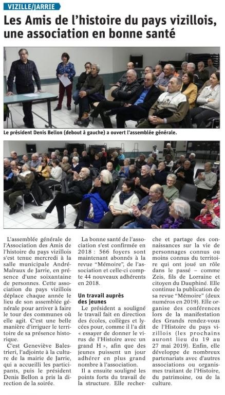 Dauphiné Libéré, Romanche & Oisans, Vizille-Jarrie édition du 17 février 2019.