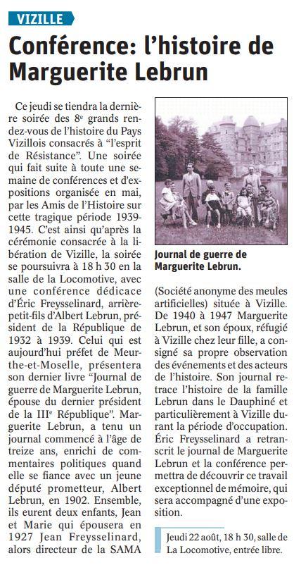 Dauphiné Libéré, Romanche & Oisans, Vizille édition du 21 août 2019.
