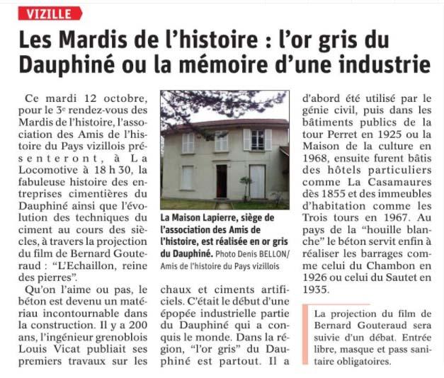 Dauphiné Libéré, Romanche Oisans, Vizille, édition du 10 octobre 2021
