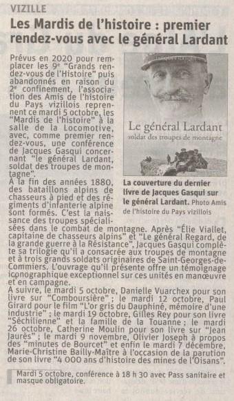 Dauphiné Libéré, Romanche Oisans,Vizille, édition du 02 octobre 2021