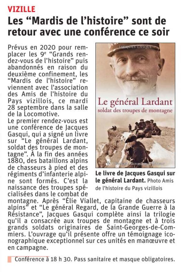 Dauphiné Libéré, Romanche Oisans, Vizille, édition du 28 septembre 2021