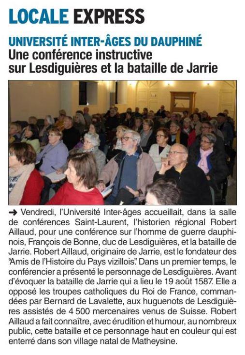 Dauphiné Libéré, édition de Saint Marcellin à la Bièvre, Pays Saint-Marcellinois du 27 janvier 2019