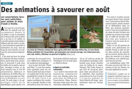 Dauphiné Libéré, Romanche Oisans,Vizille, édition du 25 juillet 2020