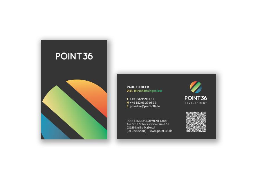 Visitenkart-e und Logoentwurf für Point 36 GmbH