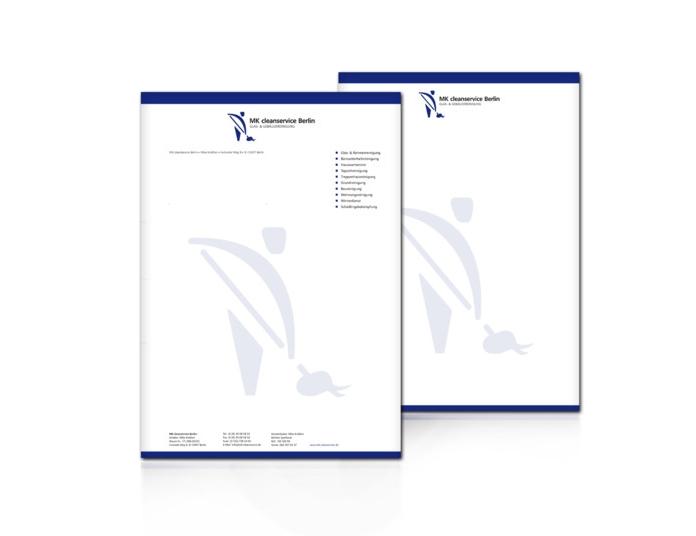 Briefdesign für das Reinigungsunterenehmen MK Cleanservice Berlin