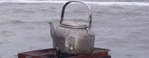 still-life: kettle at the beach