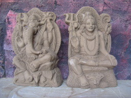 nice potted statues of hinduistic gods
