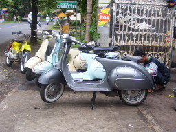 Vespas waiting for a tour in front of Geria Motor in Anturan