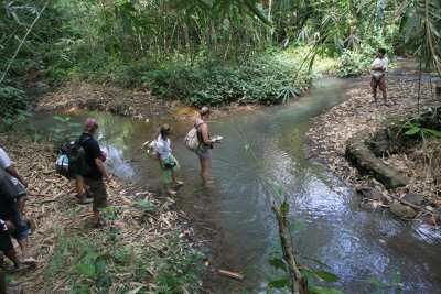 Eine Gruppe Wanderer überquert einen Bach