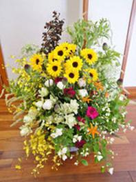 ギフト・花・開店・個展・イベント開催祝 夏のヒマワリ畑の様なナチュラルな明るく爽やかなアレンジ