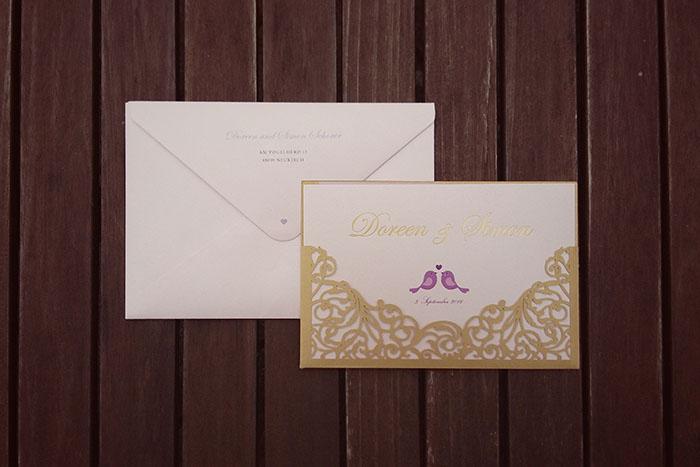 Efi, Einladungskarte, Hochzeit, Lasercut, Gold, rosa, Schloss Tettnang