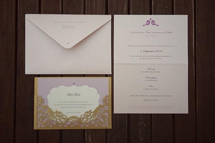 Hochzeitspapeterie, Einladungskarte, Lasercut, Efi, Gold, Einleger