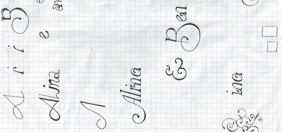 Skizzen zur Einladung von Alina & Ben