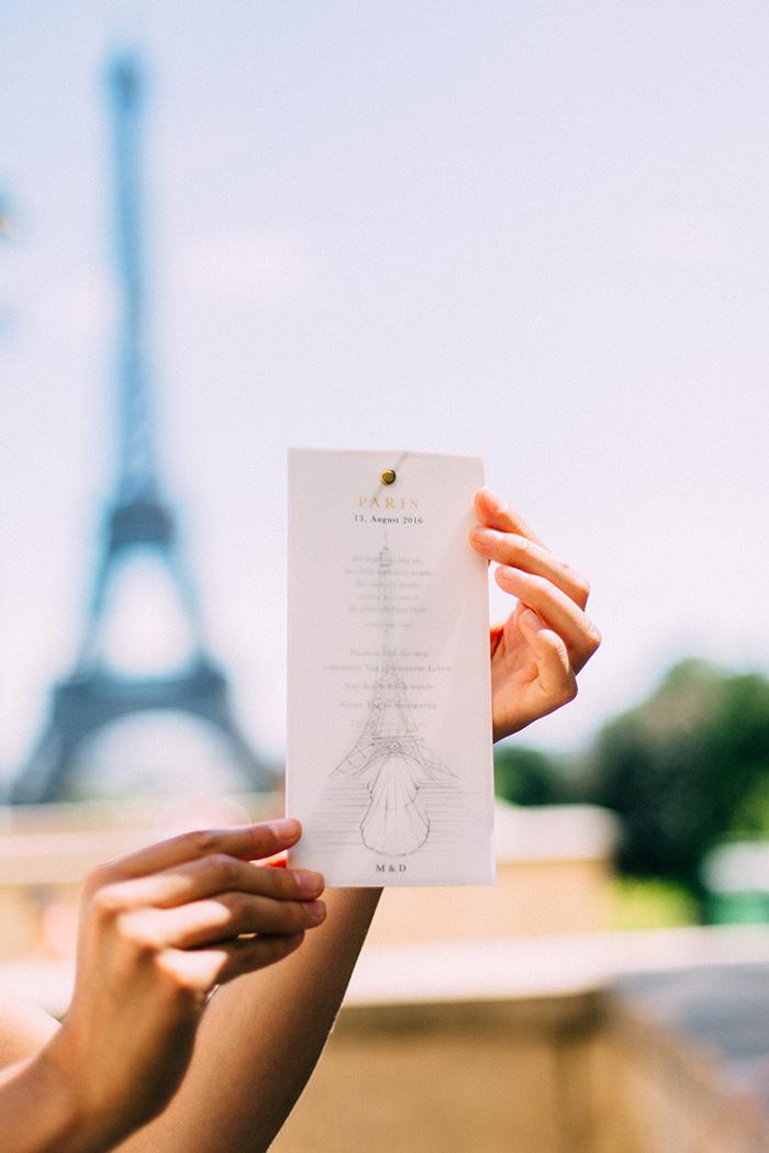 Dankeskarte, Paris, handgezeichnet, Efi, Hochzeit