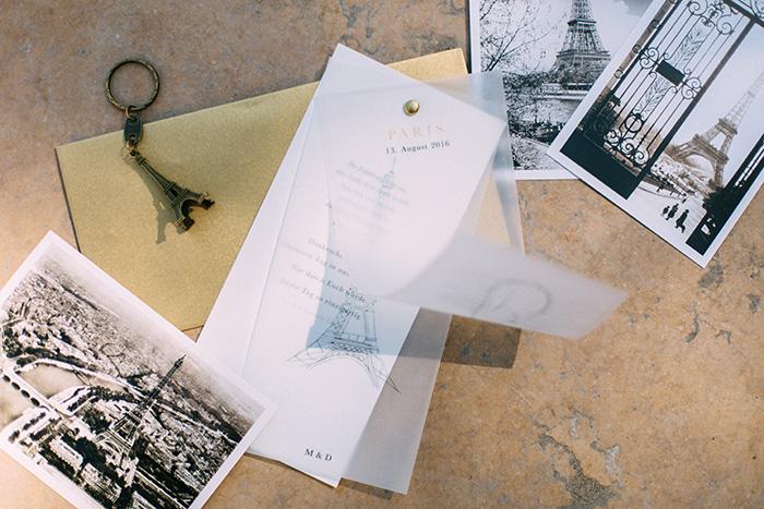 Dankeskarte aus Paris bestehend aus unterschiedlichen Ebenen ind Gold und transparent