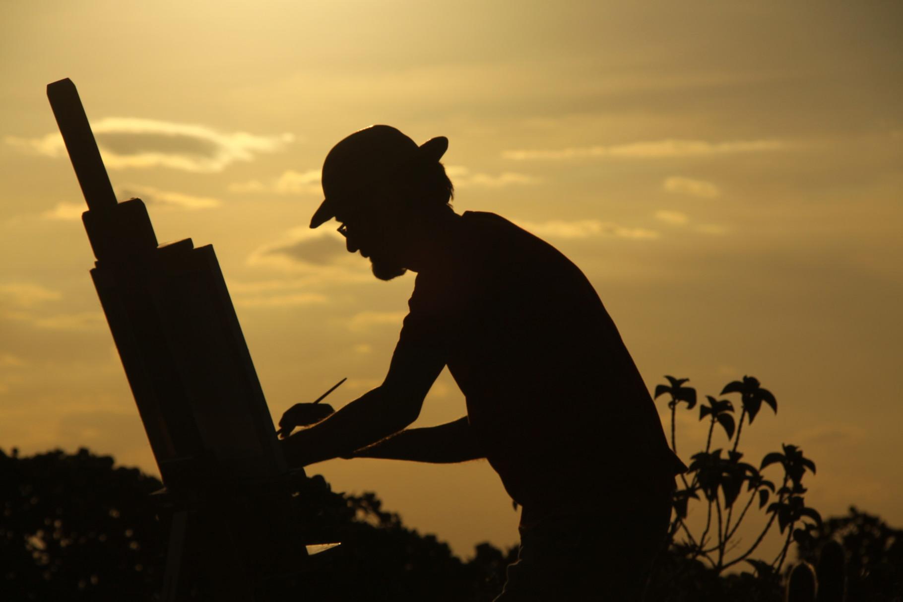 Maler beim Sonnenuntergang,  Lencois | Brasilien