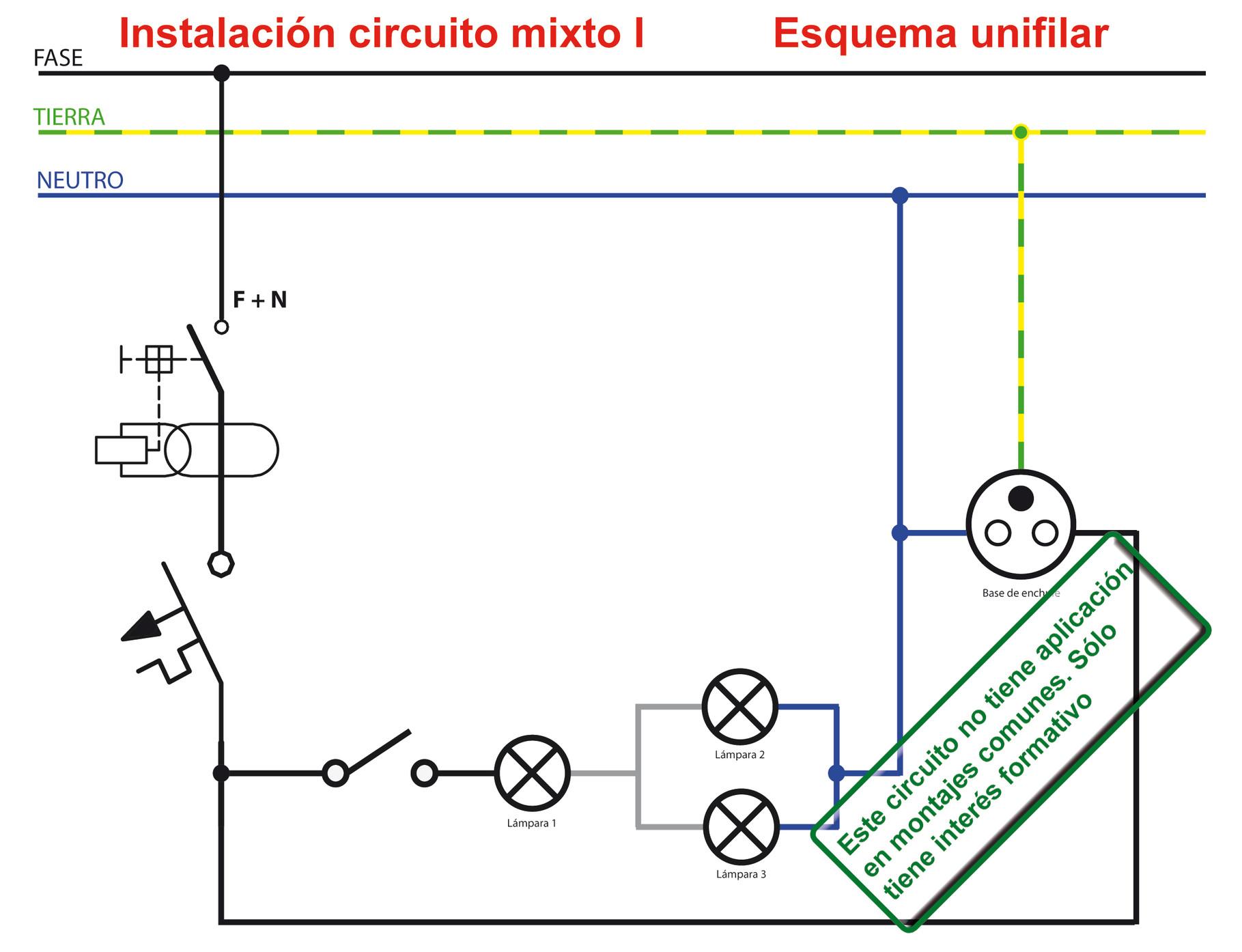 Circuito Unifilar : Instalación de un circuito mixto p s electrónica y