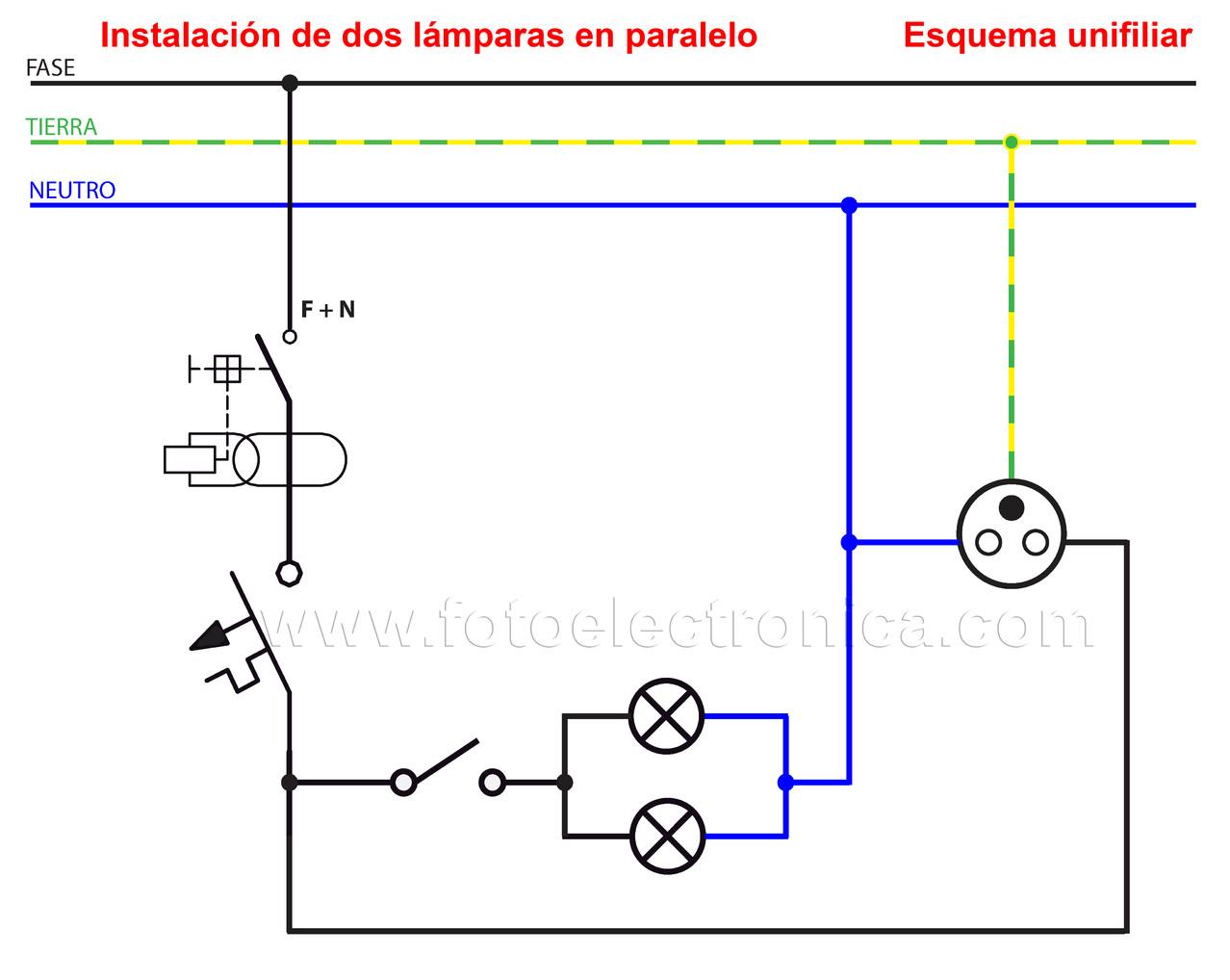 Circuito Paralelo : Instalación de dos lámparas en paralelo electrónica y