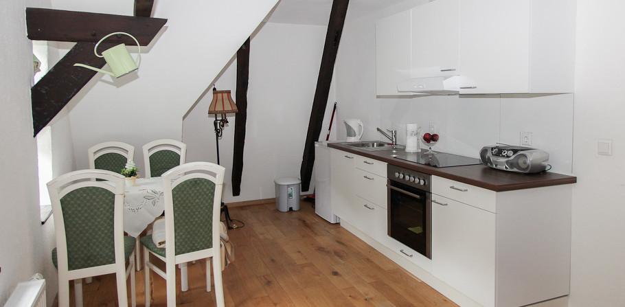 Jedes der 2-Zimmer Appartements hat eine Einbauküche
