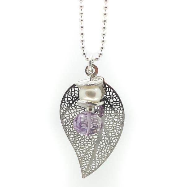 """Sonderanfertigung """"Silberblatt-Susi"""" Silberkugelkette in -925-Silber, 80cm, Silberblatt kombiniert mit Süßwasserzuchtperle und 1 Edelstein"""