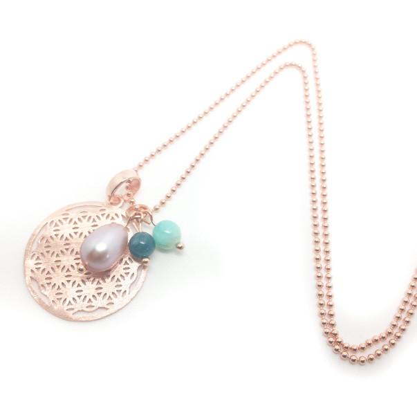 -925- Silberkette rosé vergoldet mit -925- Blume des Lebens, Edelsteinen und Süßwasserzuchtperlen