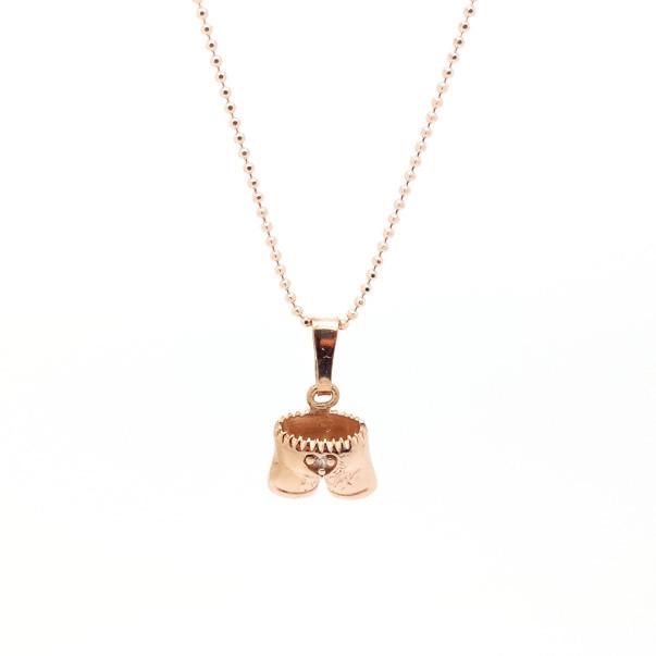 925- rosé vergoldete Halskette mit -925- rosé vergoldeter Lederhose